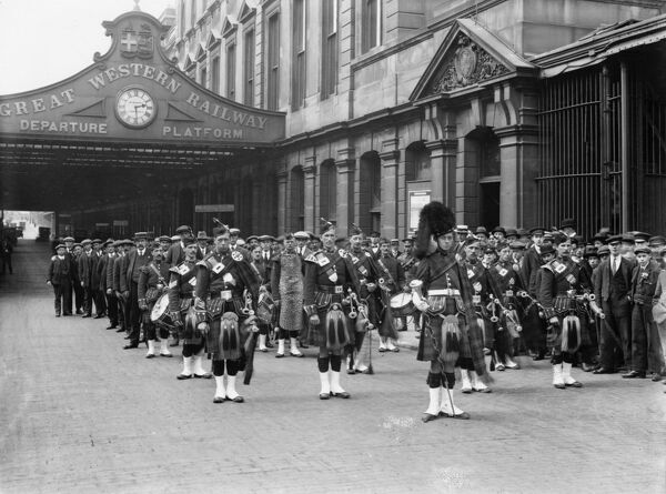 First contingent of GWR Regimental company of Railway Troops R.E headed by a Highland Band, June 18th 1915