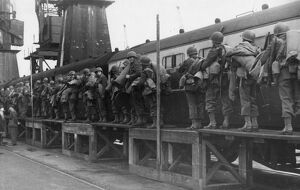 American troops boarding a train at Swansea Docks, October 1943
