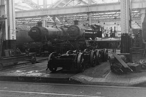 Modified Hall class, 4-6-0, No. 7903 Foremarke Hall (with No. 5992 Horton Hall) at Swindon Works, July 1962