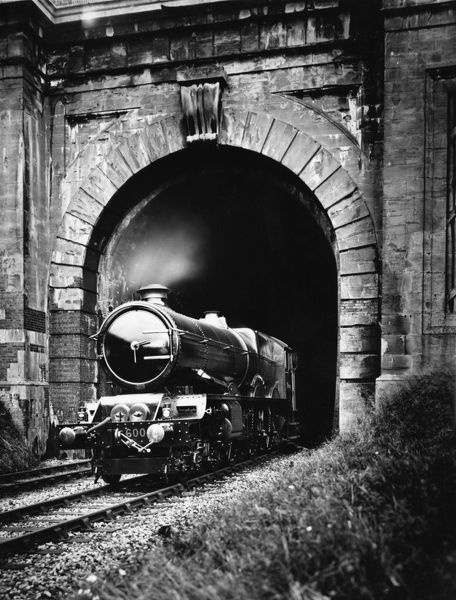 No 6000 King George V emerging from Middle Hill Tunnel