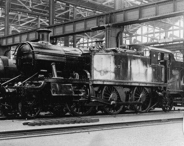 2-6-2 61XX class locomotive. Built 1931. Seen here inside Swindon Works