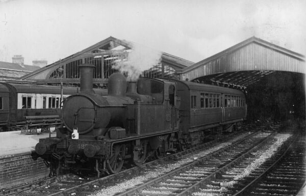 Autotrain departing from Weymouth Station, 1947