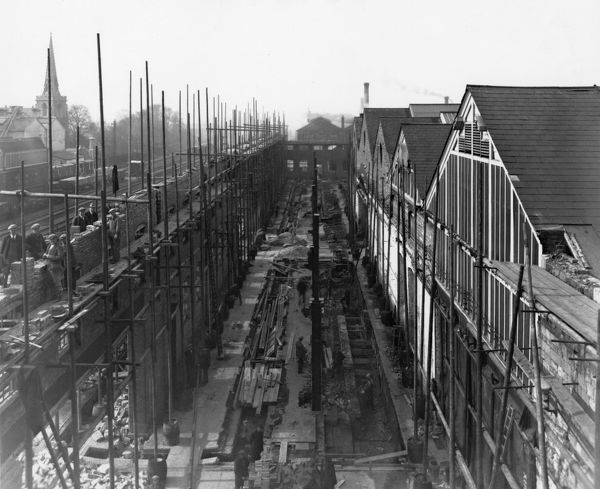 Construction of B Shed extension on the site of Brunel's old engine shed