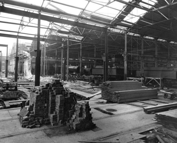 Construction of the B Shed extension on the site of Brunel's old engine shed
