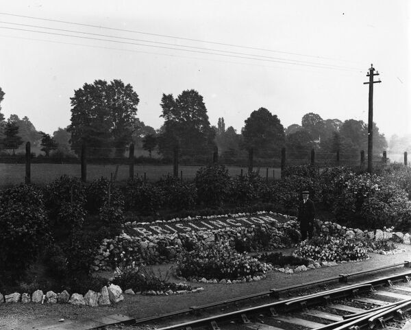 Brislington won the best station garden competion for the Bristol District in 1906. The man by the flower bed is probably the Station Master