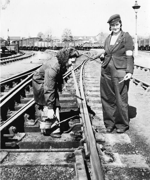 Female track maintenance workers during WW2
