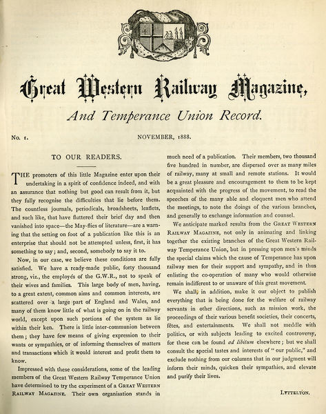 The first issue of the Great Western Magazine and Temperance Union Record, published in November 1888