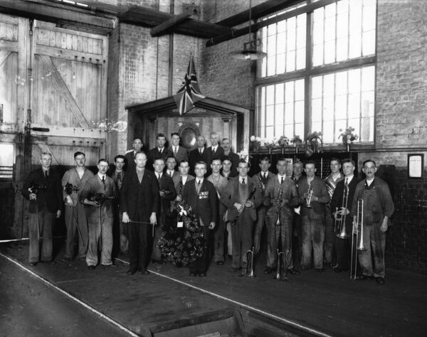 Assembled here in A Shop for the Armistice Day ceremony 1938