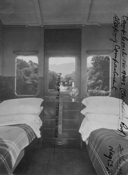 Interior view of Camp Coach No. 9992 showing sleeping compartment, 1934
