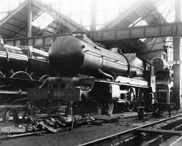 Seen here in A Shop in 1936 as streamlined. Broad gauge locomotive North Star can be seen in the background