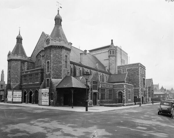 This view of the Mechanics Institute shows the entrance to The Playhouse Theatre. The fly tower for the theatre can be seen in the centre of the building. This was built when a fire destroyed the old stage in December 1930.  The Institute provided a library