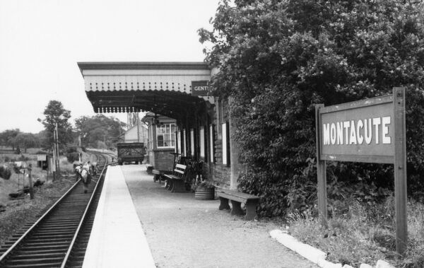 Unfortunately there is no caption on the back of this photograph taken of Montacute Station in 1962. We can only assume that some kind of maintenance is taking place on the line towards Yeovil, judging by the row of workers standing in the middle of the track