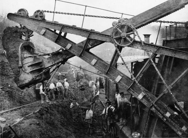 Navvies excavating a cutting, c1880s