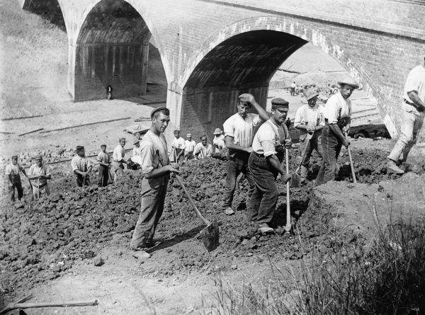 Navvies landscaping a cutting, c1880s