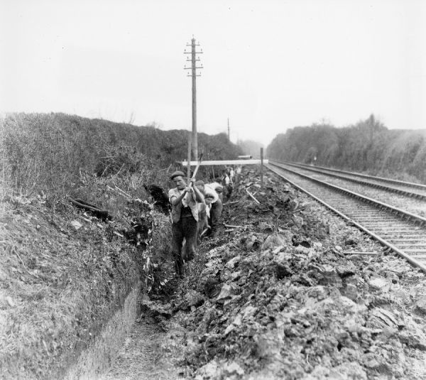 Navvies working alongside track, c1890