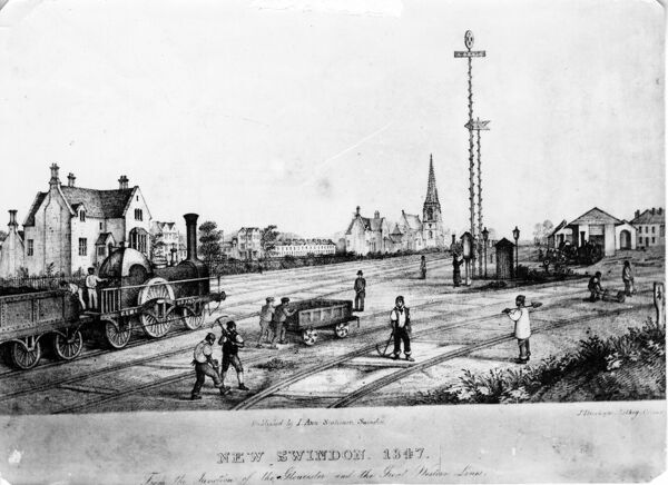 New Swindon, 1847. Lithograph of New Swindon in 1847 with broad gauge locomotive