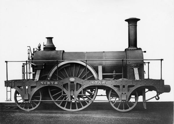 2-2-2 Broad Gauge locomotive built 1837. Note the absence of the dome in this image