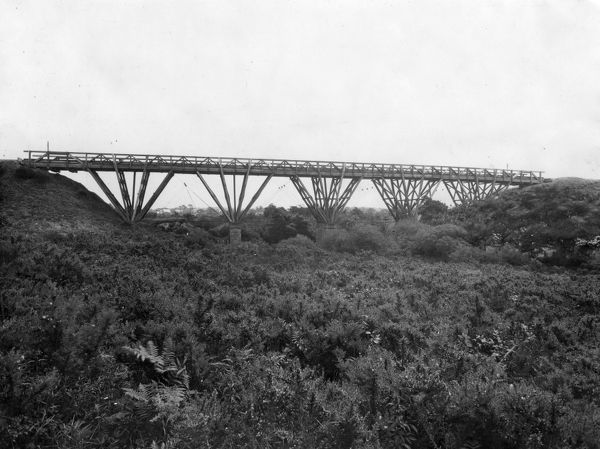 A timber viaduct on the Falmouth Branch. It was built in 1863 and replaced in 1927