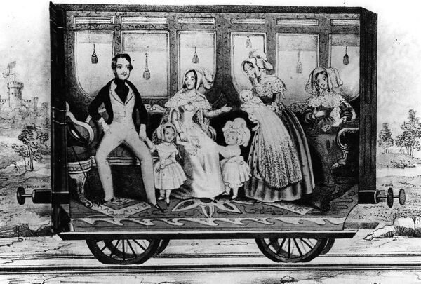 An artists impression of a saloon from Queen Victoria's Royal Train, c1842