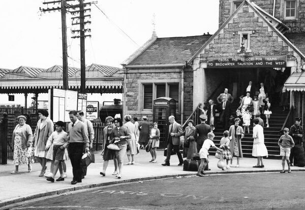 Swindon Works staff and families exiting Weston Super Mare station during their 'Trip' holiday in 1960