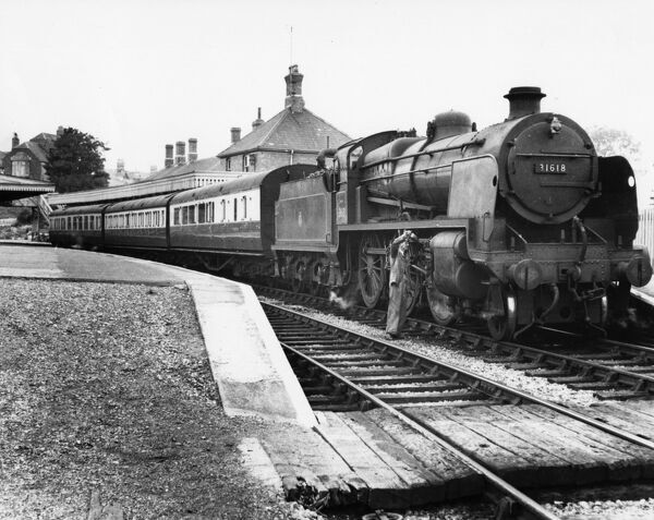 This station was originally on the Midland and South Western Junction Railway and was situated in Swindon's Old Town. Seen here with a BR Southern Region locomotive