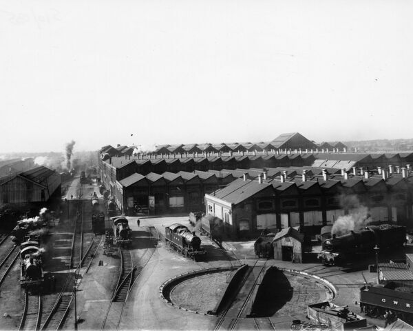 This photograph was taken from the Pattern Store building and shows tehe Works turntable and A Shop in the background