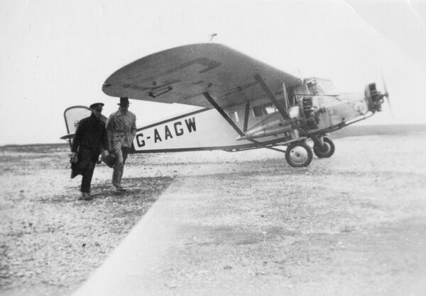 A three engined monoplane supplied by Imperial Airways for the Great Western Railway Air Service routes