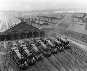7 King Class Locomotives at Swindon Shed, 1930