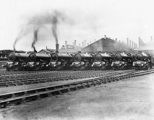 7 King Class Locomotives at Swindon Shed, c1930s
