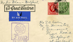 An air mail envelope stamped with the slogan Go Great Western, 1934