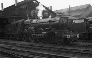 Castle Class locomotive No. 7022, Hereford Castle at Swindon Shed, c.1960