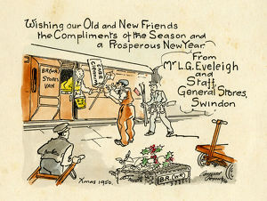 Christmas card sent by Swindon Works General Stores, 1950