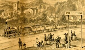 Close up view of broad gauge train at Chepstow Station, c.1850
