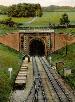 Colour tinted photo of Box Tunnel, c.1920s