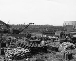 Construction of new crossings shop, 1956