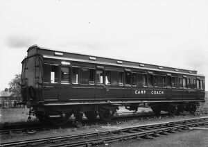 Exterior view of Camp Coach No. W9910, 1952