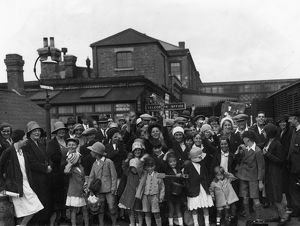 Families gather for the annual Swindon Works Trip, 1932