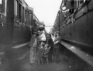Family boarding a train in the carriage sidings at Swindon, for the annual Works trip