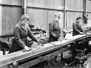 Female employees working in the Permanant Way Department during WW2
