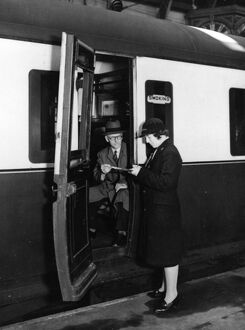 Female Ticket Collector at Paddington Station during WW2
