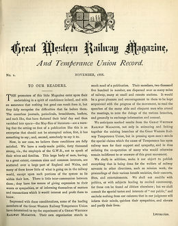 The first issue of the Great Western Magazine and Temperance Union Record, 1888