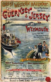 Guernsey & Jersey via Weymouth poster, about 1891
