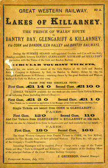 GWR advertising leaflet, 1884