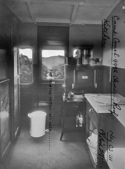 Interior of Camp Coach No. 9992 showing kitchen, 1934