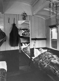 Interior of Camp Coach showing bunk beds, 1935