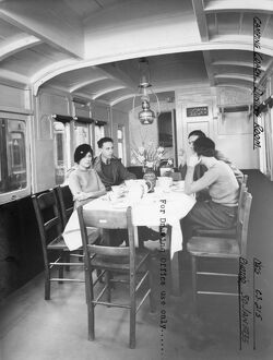 Interior of Camp Coach showing dining room, 1935