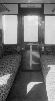 Interior of compartment of non corridor third brake van, 1953