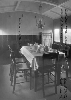 Interior view of Camp Coach No. 9992 showing dining room, 1934
