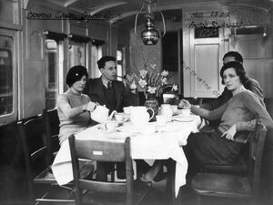 Interior view of Camp Coach showing a close up view of dining room, 1935