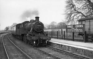 Ivatt 2MT class, 2-6-0, No. 46521 at Three Cocks Junction April 1958